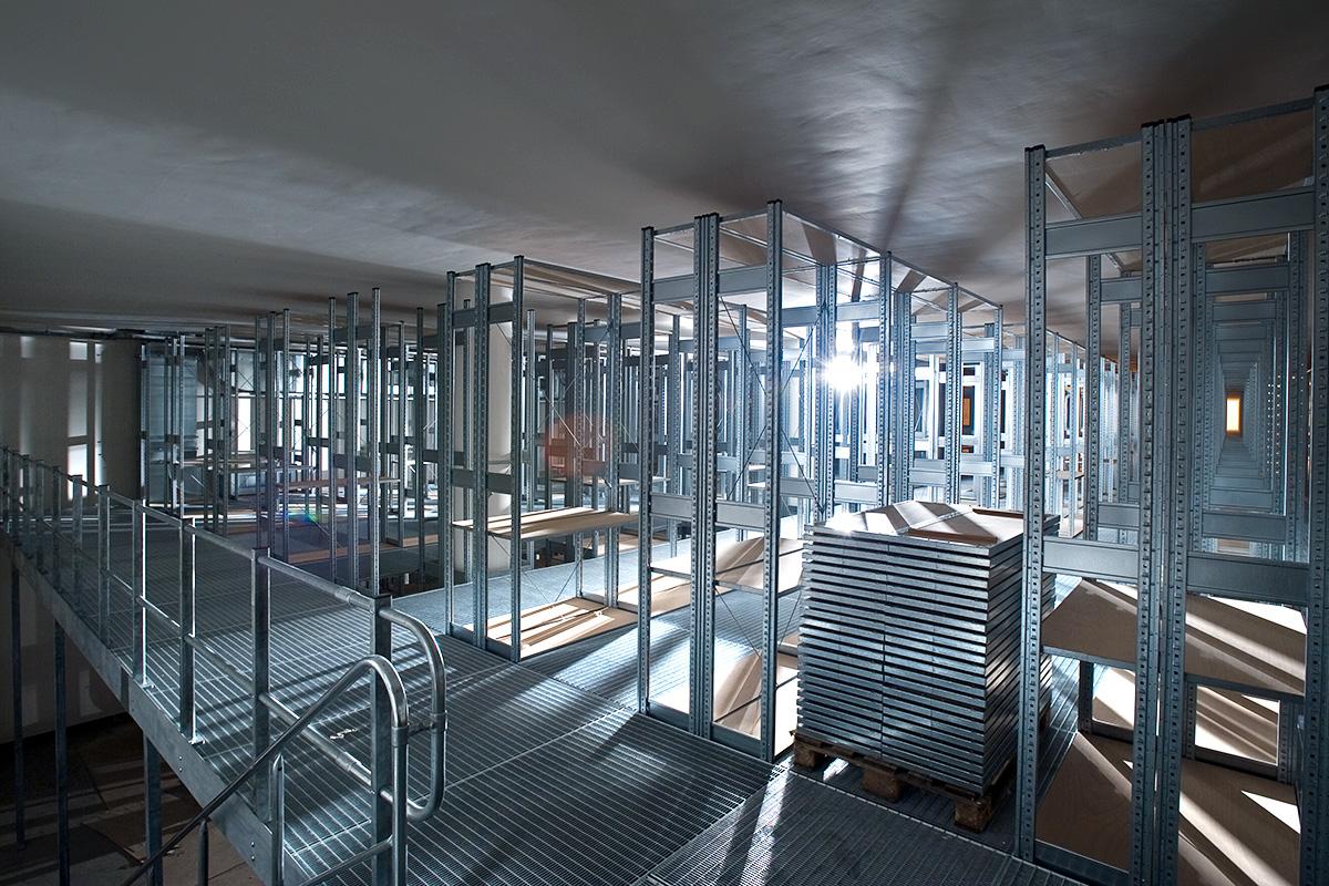 Das Foto zeigt den Bau des Sammlungsgebäudes für die Forschungssammlungen.