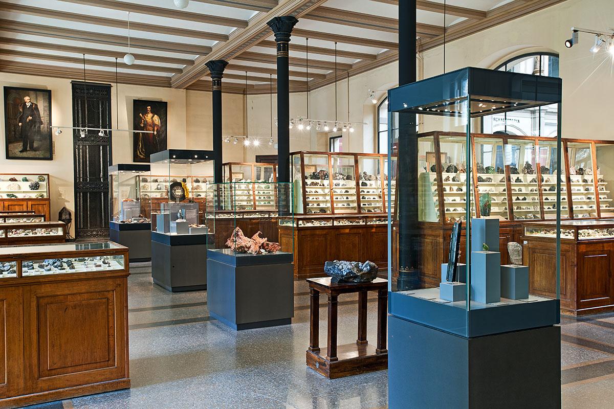Das Foto zeigt den Mineraliensaal des Museums für Naturkunde.