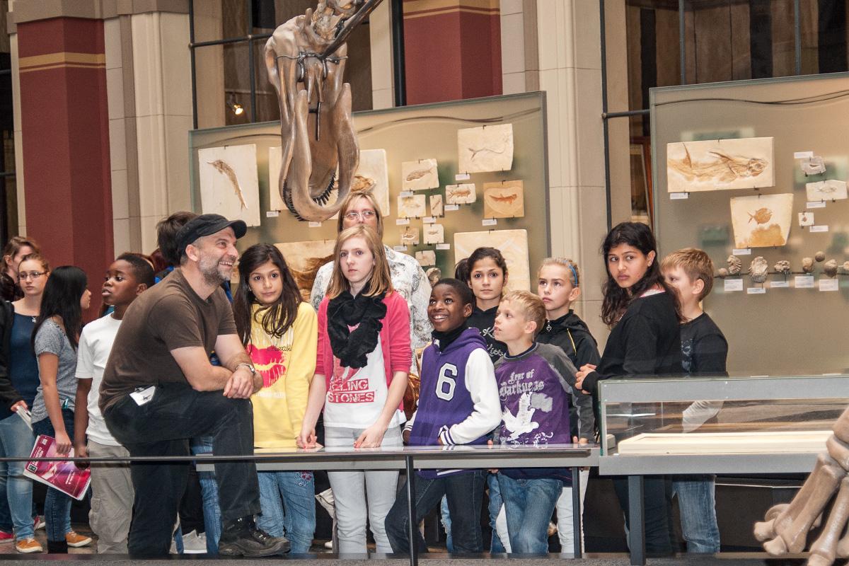 Schüler bei einer Führung im Sauriersaal des Museums