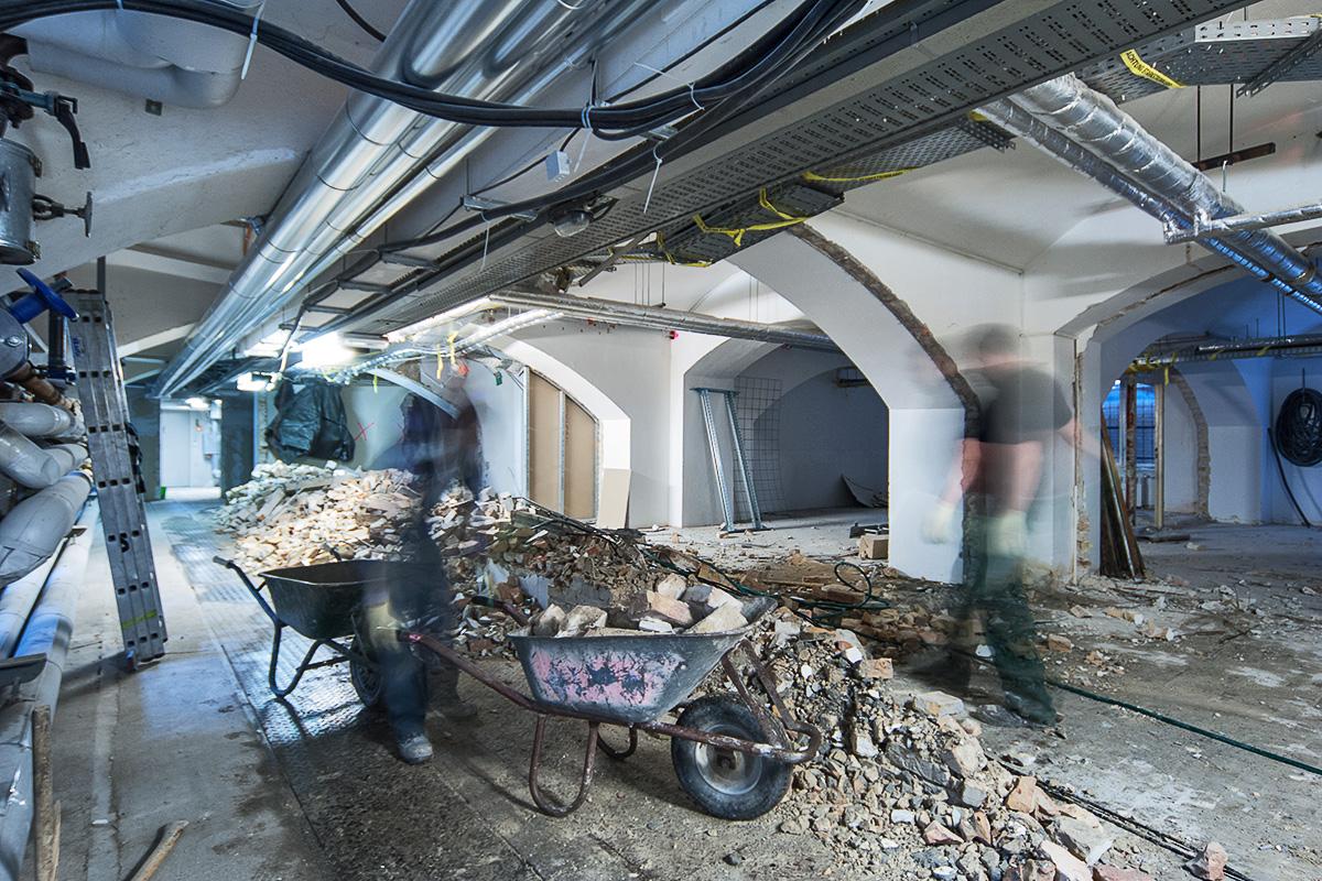 Bauarbeiten im Keller des Museums