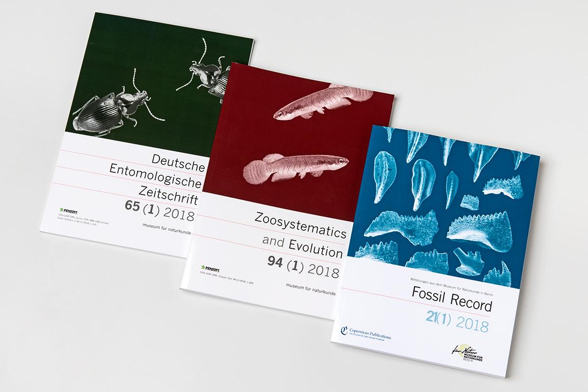 Ausgaben der wissenschaftlichen Zeitschriften Fossil Record, Zoosystematics and Evolution und Deutsche Entomologische Zeitschrift, Foto: Carola Radke / MfN