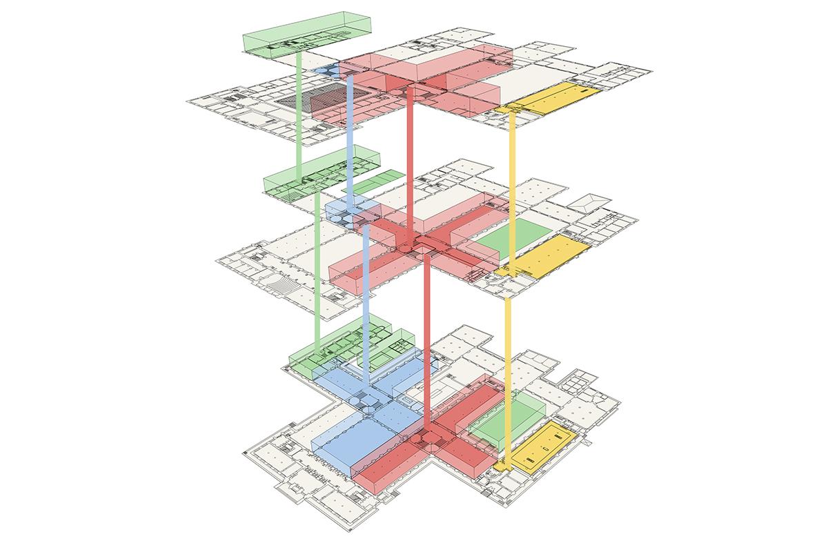 Schematische Darstellung der vier Bauabschnitte im Rahmen der Sanierunssequenzen