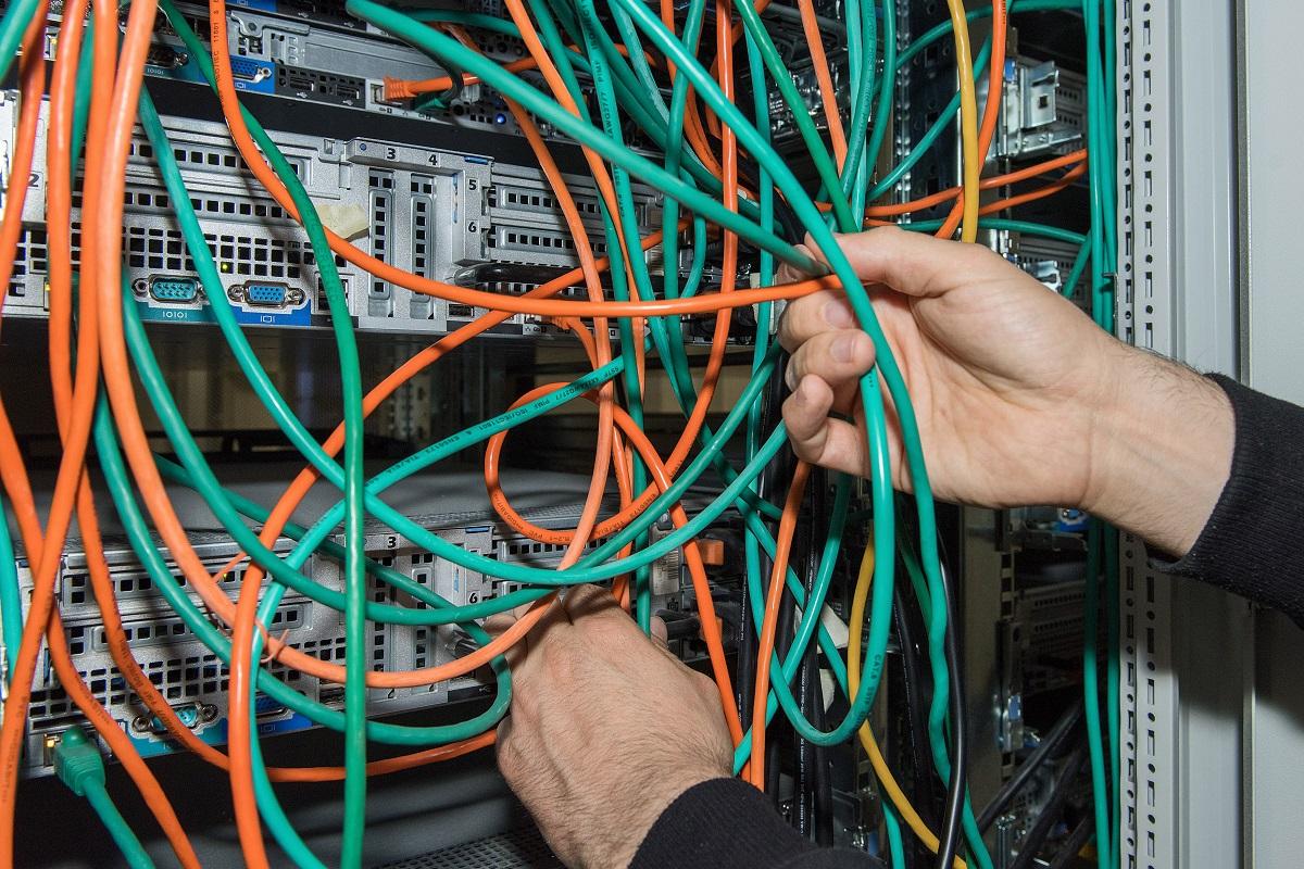 Die Netzwerkverkabelung  der Cluster-Knoten: Verschiedenen Leitungsfarben stehen für verschiedenen Netze. Foto: Hwa Ja Götz/Museum für Naturkunde Berlin