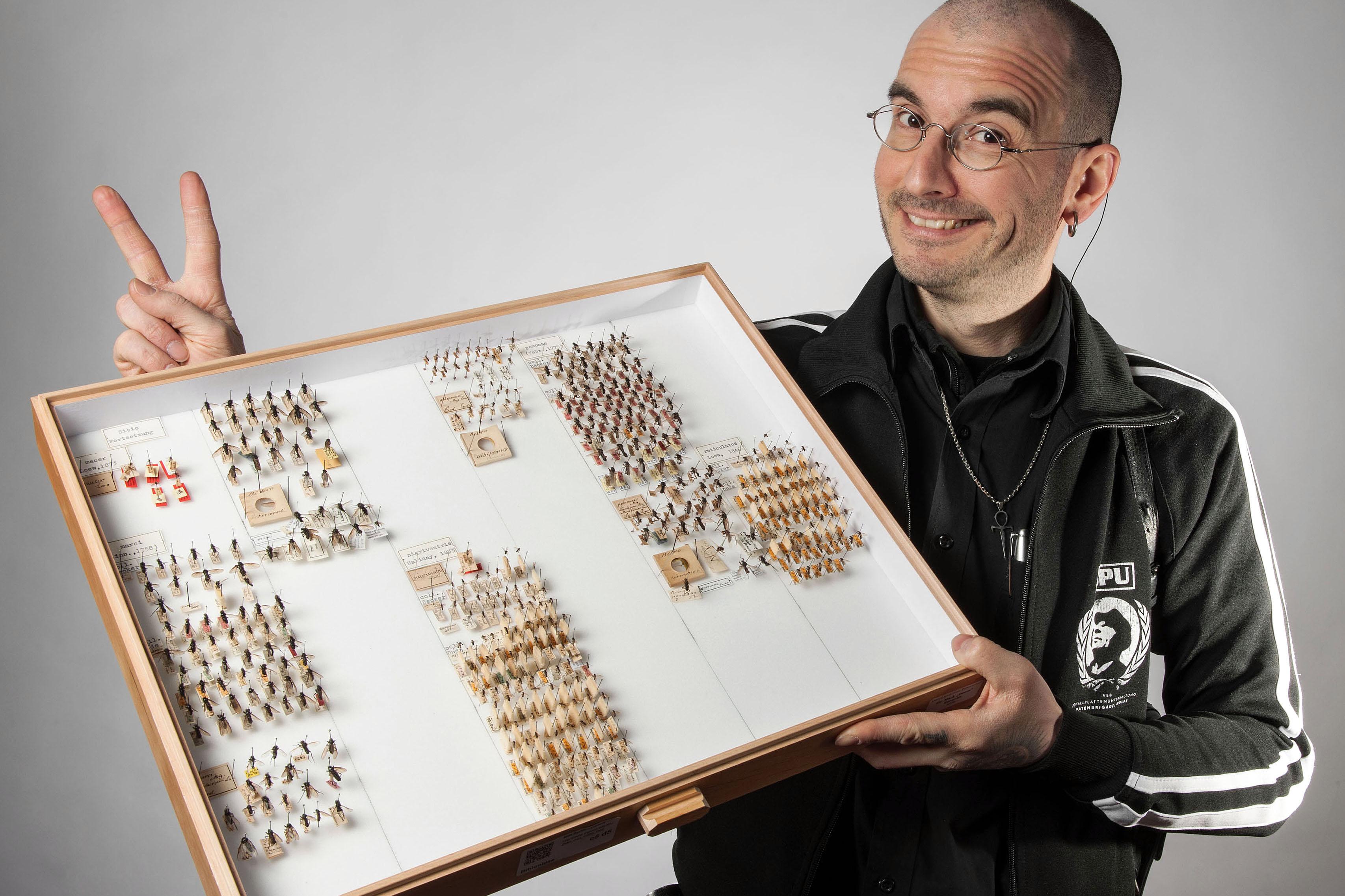 """Dr. Mark Benecke mit seinen """"Patenkindern"""": ein Sammlungskasten Markusmücken im Museum für Naturkunde Berlin, Foto Hwa Ja Götz"""