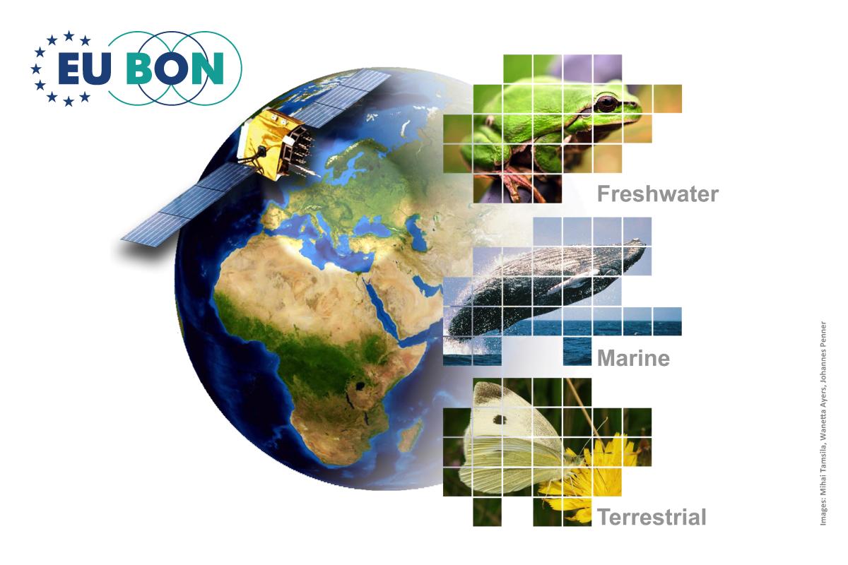 Grafik zur Darstellung des EUBON Projektes und den drei Bereichen Süßwasser, Meere und Land