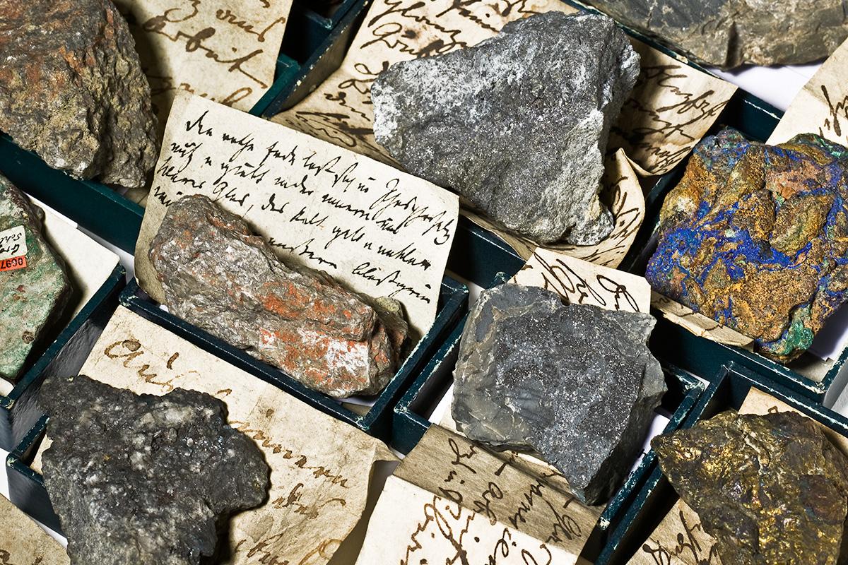 Mineraliensammlung des Naturkundemusems Berlin, Einblick in eine Schublade der Privatsammlung von Peter S. Pallas (1741-1811)