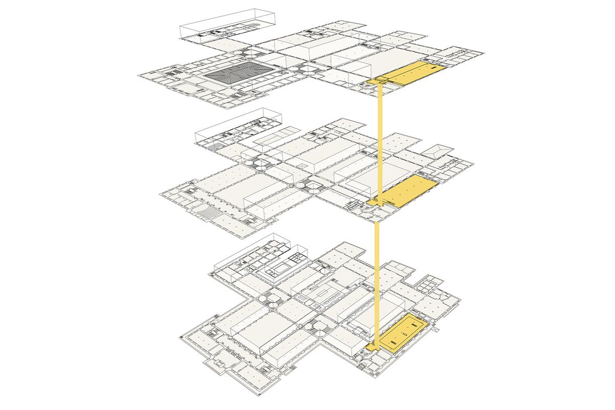 Schema des ersten Bauabschnittes Wiederaufbau des Ostflügels