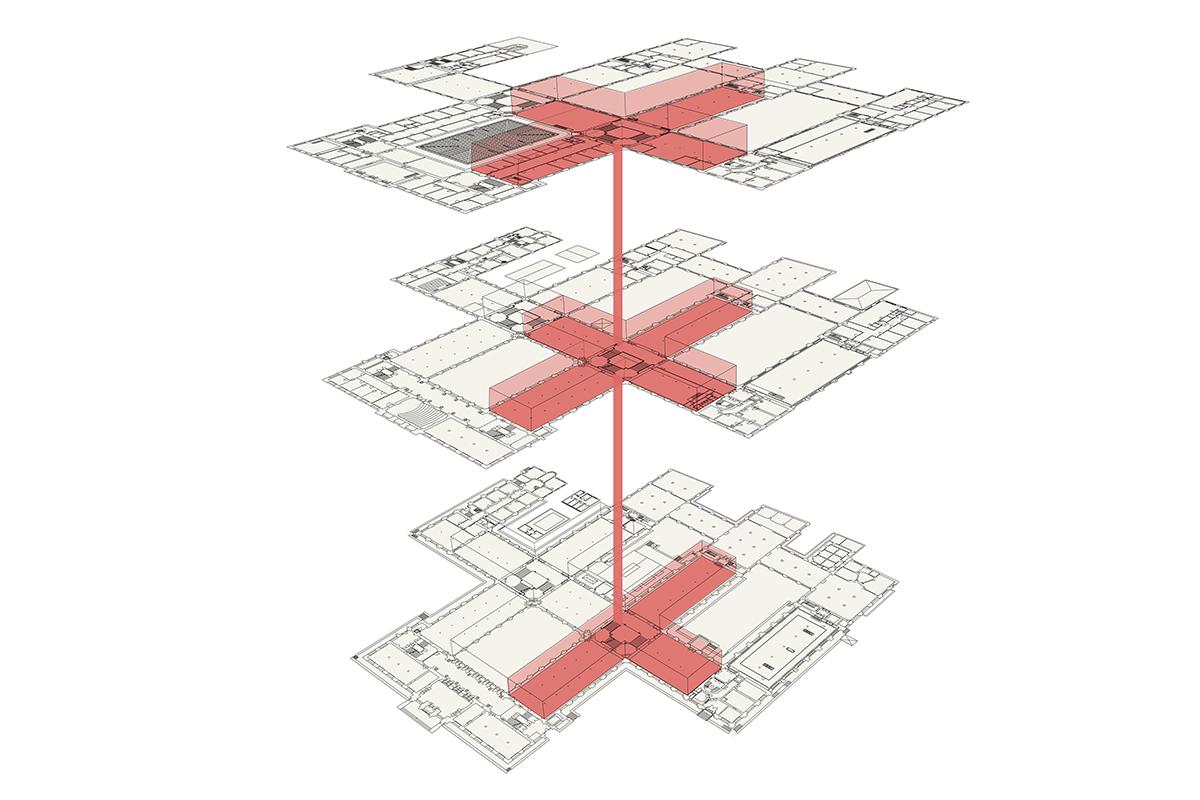 Schema des zweiten Bauabschnittes, Sanierung des Gebäudemittelteils vom Erdgeschoss bis zum Dachgeschoss