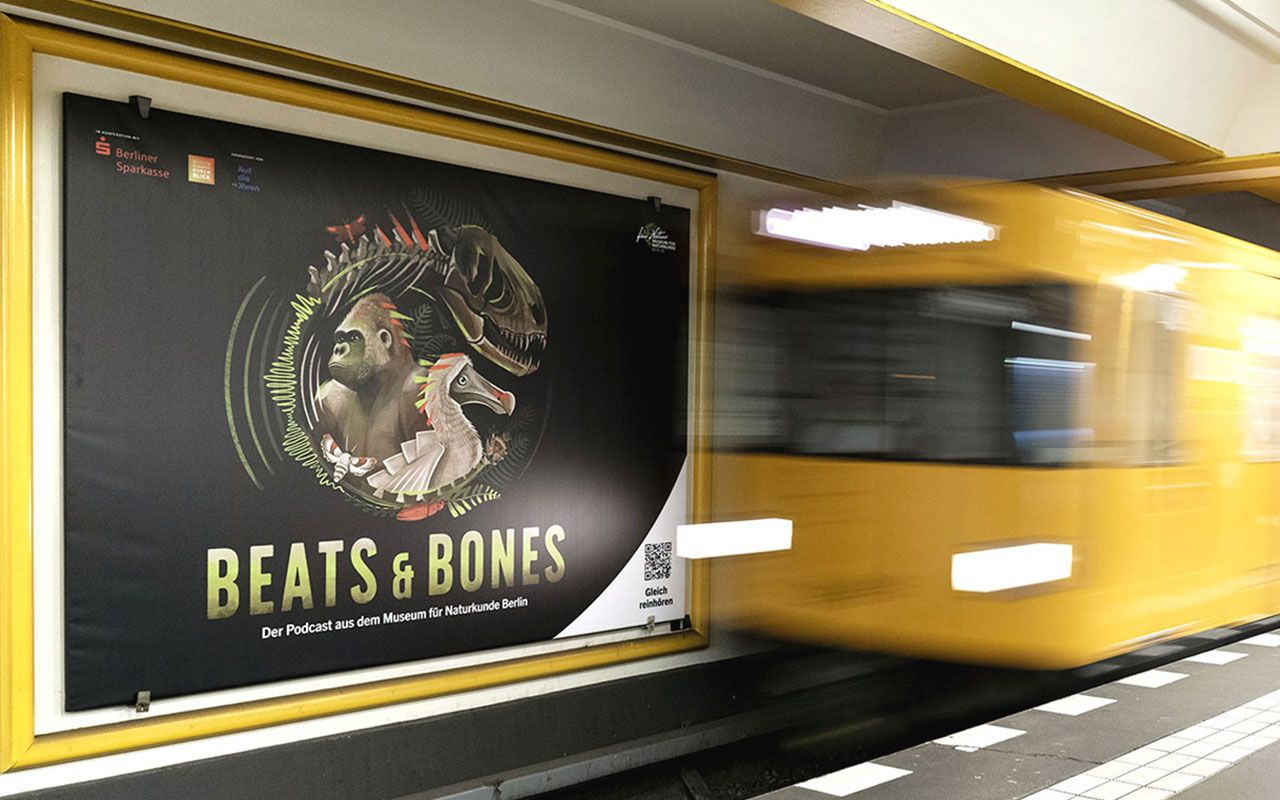 U-Bahnhof Naturkundemuseum mit Beats & Bones Podcast Plakaten